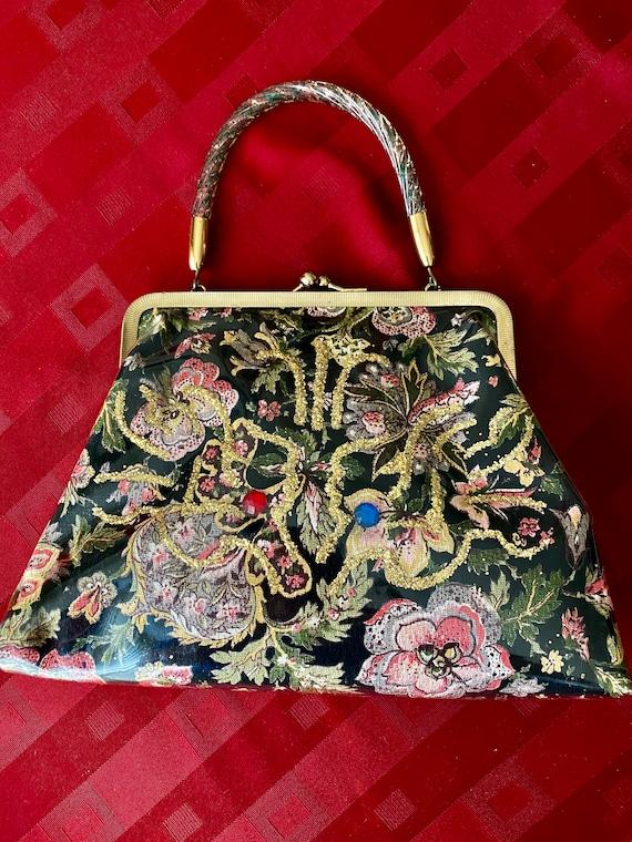 Vintage Lucite Plastic Covered 1950's Handbag