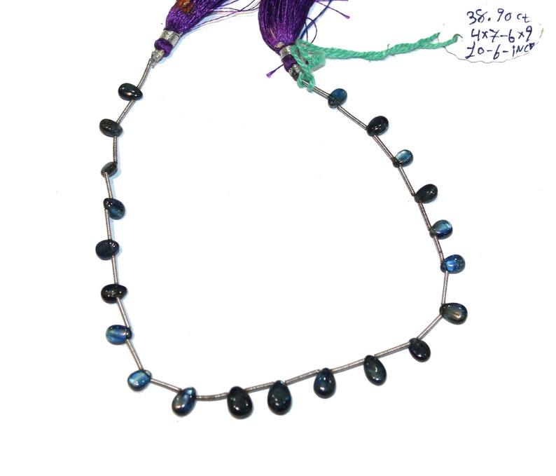 70/% OFF 38.90 Carat Natural Blue Kyanite 4-7 to 6-9mm Drop Beads Smooth Pear Shape Peardrop Kyanite Beads Strand 10.5 Inch Long