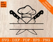 Chef Svg, Monogram Frame Svg, Cooking Svg, Kitchen Svg, Cutting Board Svg, Silhouette Cut File - PNG - DXF - Cricut - Vector Clipart