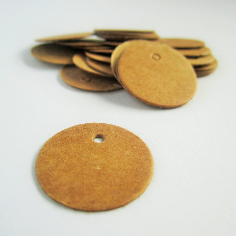 50mm  2 inches round circle brown recycled kraft parcel tags