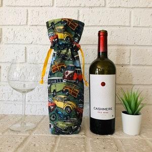 Hand Block Printed Drawstring Wine Bag Linen Wine Bag Hand stamped Eco-friendly wine bag