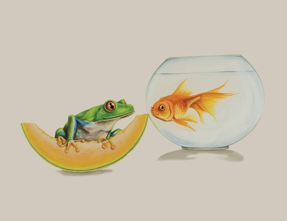 The Frog The Cantaloupe And The Goldfish 8 5 X 11 Giclee Etsy A cup of fresh cantaloupe has just 60 calories and provides plenty of vitamin c, vitamin a, and potassium. etsy