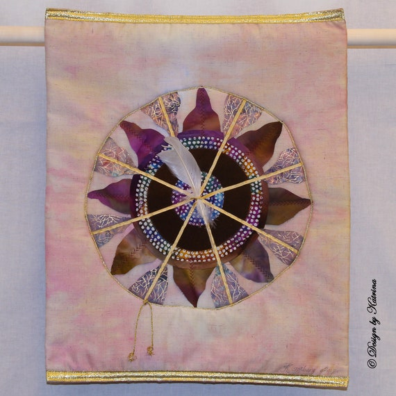 "White Feather in Gold Wheel   21"" x 16.5"""