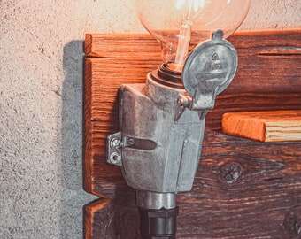 Wooden sconces in the rusty-industrial style. Wall lamp with zero waste wooden shelf. Handmade sconces of wood and copper.