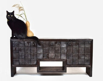 Black fired RTV cabinet. Industrial RTV console. Black chest of drawers for tv. RTV cabinet Industrial Modern console