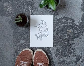 Postkarte, Surfart, Print von Linoldruck, Linolprint, Linolschnitt, DinA5, Grußkarten, Geschenkkarte, Wallart, Weihnachtsgeschenk