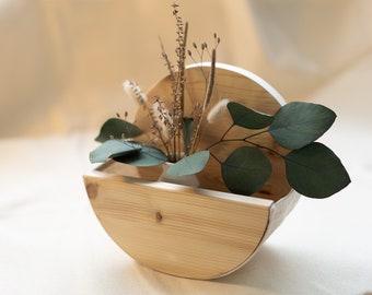 Pflanzenübertopf, Holzaufhängung Übertopf, Hängeregal, rundes Pflanzenregal, Leinenstoff mit Holz, Wandbehang Hölzern, Weihnachtsgeschenk
