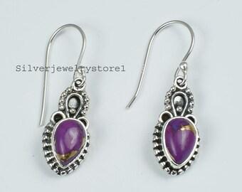 Dangle Earring Purple Turquoise Earrings Gift For Wife Teardrop Earring 8mm Round Purple Turquoise Earring Sterling Silver Earring