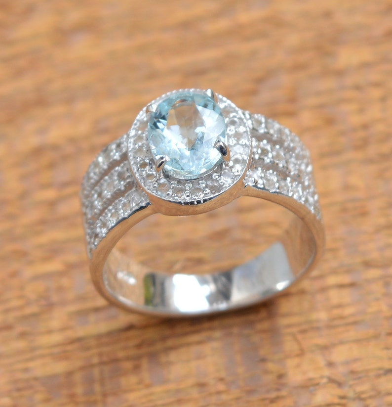 White Topaz Ring Aquamarine 6x8mm Oval Faceted Gemstone Ring Engagement Ring Natural Aquamarine Ring Etsy Ring 925 Sterling Silver Ring