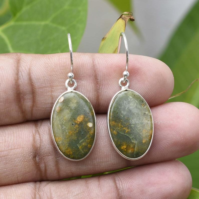 12x20mm Oval Earring Etsy Sterling Silver Earring Bezel Earring Natural Rainforest Gemstone Earring Rainforest Jasper Earring
