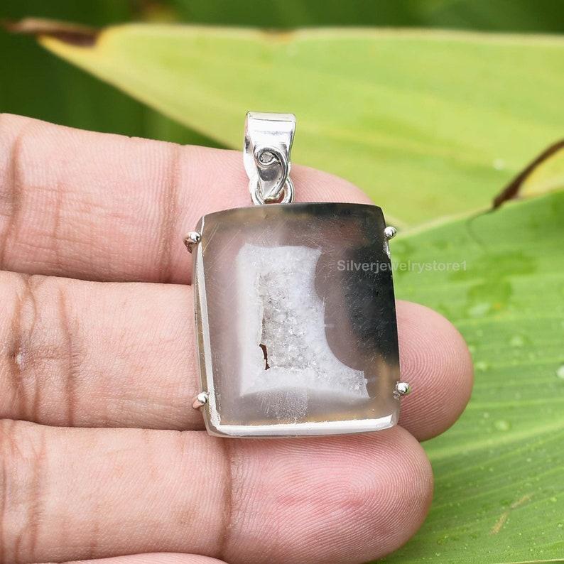 Rough Pendant 925 Sterling Silver Pendant Coconut Druzy Pendant 22x25mm Coconut Druzy Pendant Handmade Jewelry Raw Gemstone Pendant