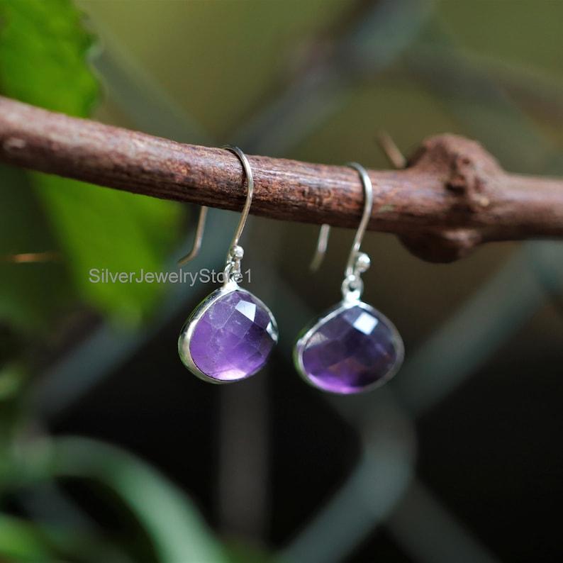 Women Earrings Amethyst 12x16mm Pear Gemstone Earrings Etsy Bohjo Earrings Handmade Earrings Bezel Earrings Natural Amethyst Earrings