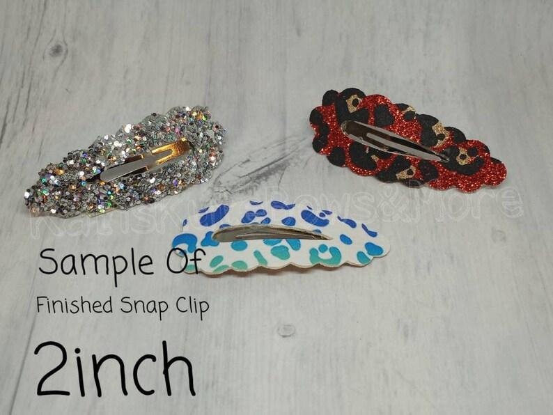 Pre Cut 2inch Scalloped Open Window Snap Clips,Glitter Snap clip pre cuts,Glitter Print Grab Bag Snap Clip covers,5cm mix precut snapclip