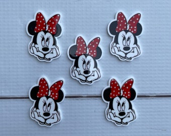 Mini Mouse Resin Flat backs Scrapbooking Embellishments Bow Centers - Set of 2 Miss Mouse Planar Resin