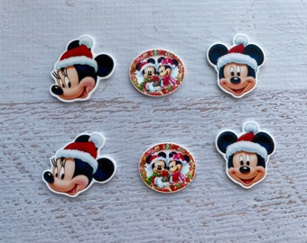 6 pieces Mickey Mouse /Minnie Mouse Christmas Planar Resin ,Mickey /Minnie Mouse Christmas Cabochon ,Mickey Minnie Christmas Flat Back Resin