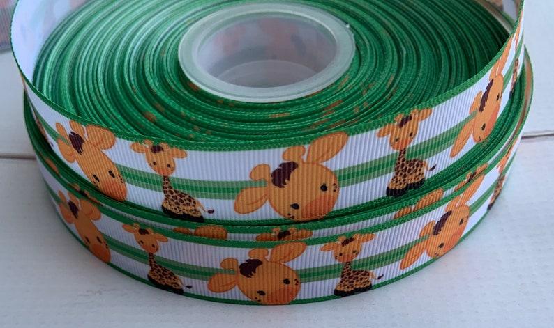 1 12\u201d 78\u201d Giraffe Safari Animals Jungle Grosgrain ribbon 3 yards 78 Giraffe Ribbon Safari Grosgrain Ribbon Giraffe Baby Shower