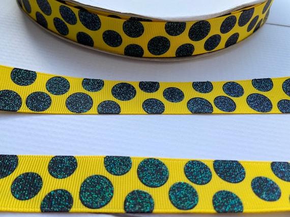"5 yards light blue polka dot print 7//8/"" grosgrain ribbon by the yard DIY"