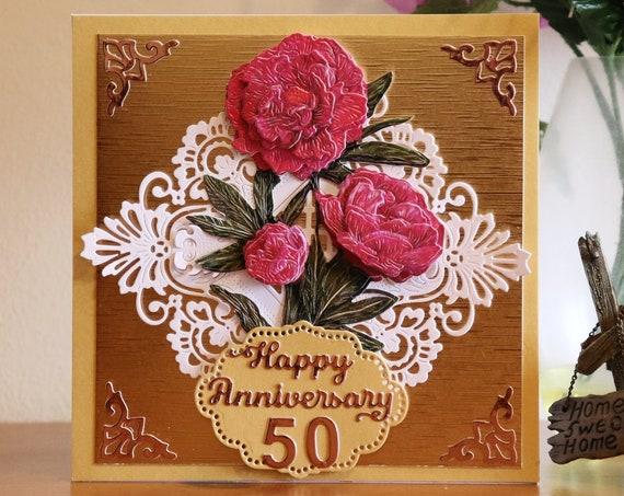 Unique Handmade Wedding Anniversary Card, Golden Wedding, 50 years, die cut, red flowers, 3D decoupage, personalise