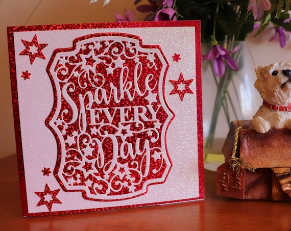Unique Handmade Greetings Card, Sparkly, Glittery, personalise