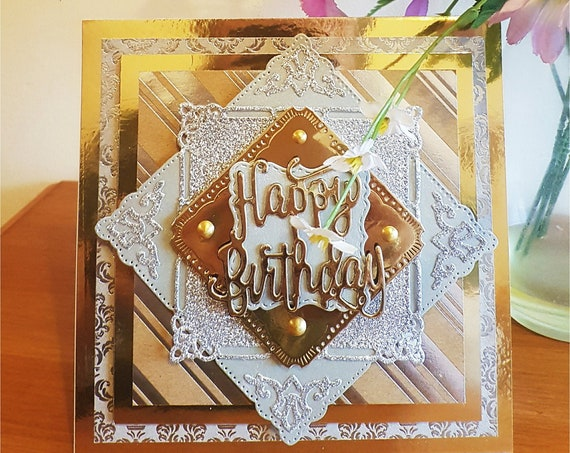 Unique Handmade Birthday Card, gold and silver, multi-layered, 3D. personalise