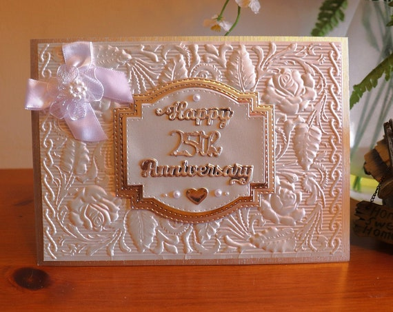 Luxury Silver Wedding Anniversary Card, 25th Wedding Anniversary, beautiful ornate pearlescent embossing