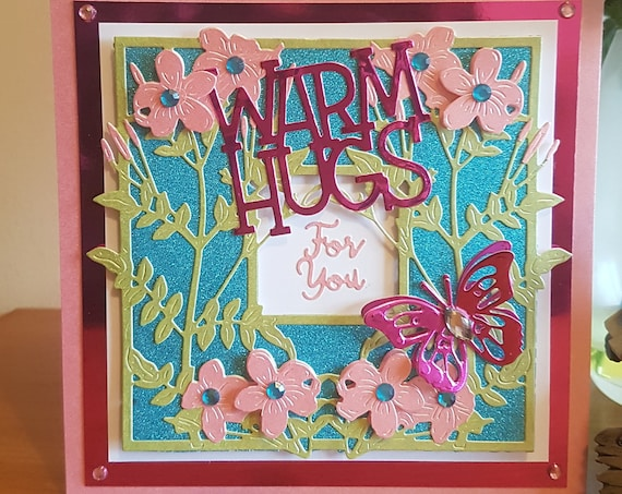 Unique Handmade Greetings Card, Warm Hugs for you, 3D Decoupage, flowers & butterfly, glitter, personalise