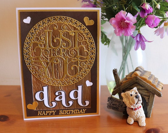 Handmade Dad Birthday Card with large gold medallion Just for You, wood effect background with gold and white hearts
