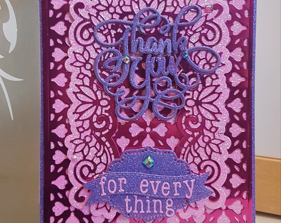 Large A5 size Unique Handmade Thank You Card, Large A5 size, Pink & Purple Glitter, die cut, personalise