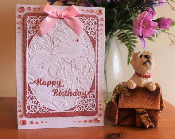 Handmade Birthday Card, Embossed bird background, textured and die cut pink and white frame, faux gems and pink bow