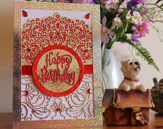 Large A5 size Unique Handmade Holographic Birthday Card, Large A5, red & shimmery, glittery,