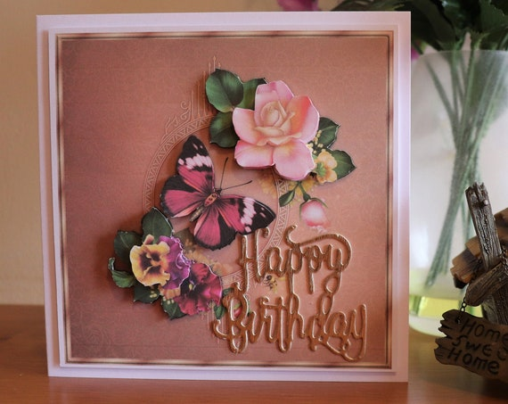 Handmade Birthday Card, Flowers and Butterfly, 3D Decoupage, Gold Text