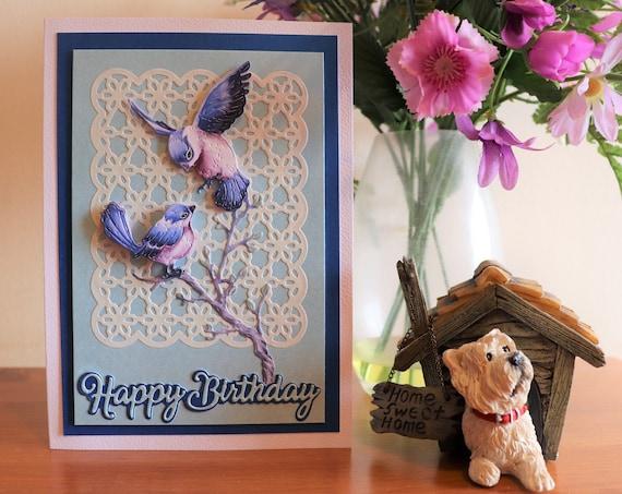 Handmade Decoupage Birthday Card with 3D Blue Birds