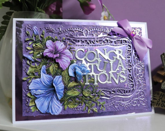 Handmade 3D Congratulations Card, Decoupage Flowers, Purple and Green, Unique, Personalise