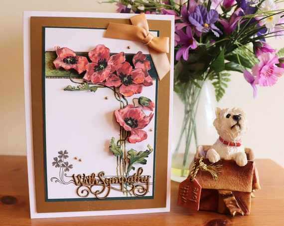 Handmade Sympathy Card with 3D Decoupage Red Poppies and fancy sentiment in a gold frame with gold beads and bow embellishments.