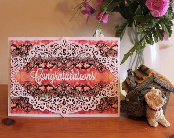 Handmade Congratulations Greeting Card, Original Digital Art Background, Die Cut, Friends, New Job etc