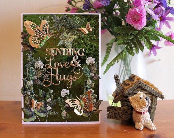 Handmade Sending Love & Hugs Card, Thinking of you card, Get well soon card, Sympathy card, Green Nature card, Ivy and Butterflies