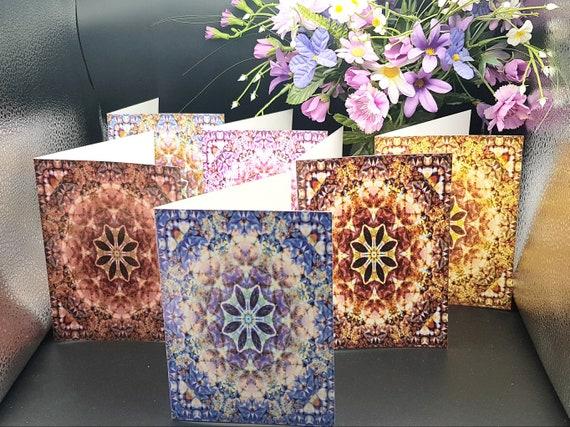 Set of 6 Notecards, Colourful Kaleidoscope Designs
