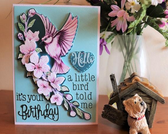 Unique Handmade Birthday Card, 3D Decoupage Bird & Cherry Blossom