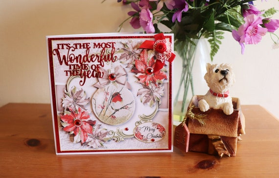 Handmade Christmas Card with 3D Decoupage flowers, decorations, christmas bauble with robin, fancy script, faux gems and bow embellishments