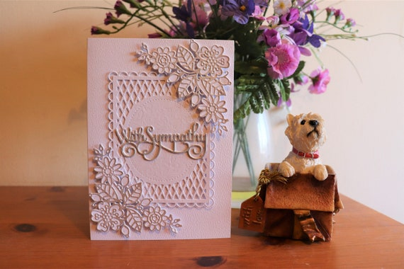 Unique Handmade With Sympathy Card in white and silver with 3D flower sprays on a trellis background