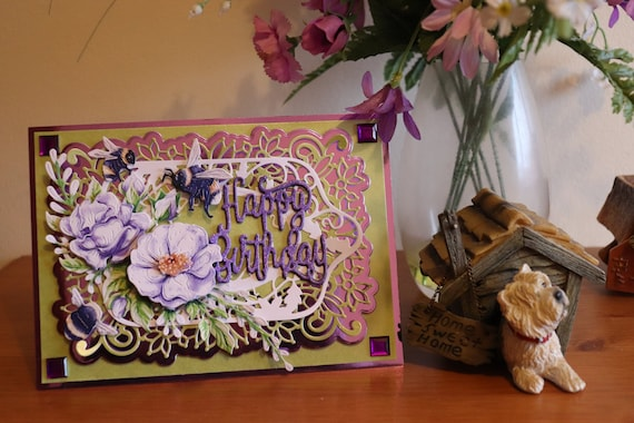 Handmade  3D Birthday Card, Decoupage Bees and Flowers, Purple and Green, Unique, Personalise