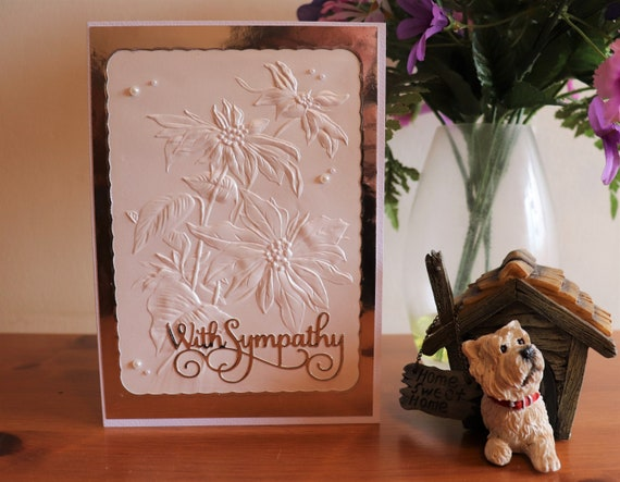 Handmade Sympathy Card, Bereavement card, Condolence card, Sad grief card, Mourning card, Comfort card, elegant embossed flowers, fancy text