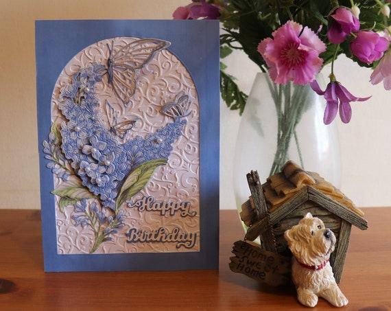 Handmade Decoupage Birthday Card, 3D Blue Buddleia with Butterflies