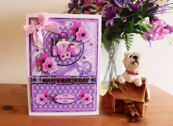 Handmade Birthday Card, 3D Decoupage Flowers and Ladies Toiletries in pretty pinks and purples,
