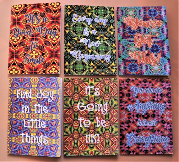Set of 6 Notecards, Positive and Inspirational Sayings on Colourful Digital Abstract Patterned Backgrounds