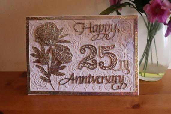 Luxury Silver Wedding Anniversary Card, 25th Wedding Anniversary, Silver Holographic, Large A5 size, Decoupage Flowers