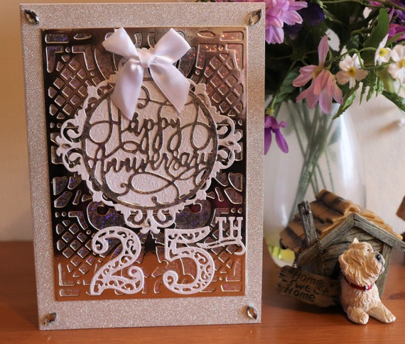 Large A5 size Handmade Wedding Anniversary Card, 25 Years, Silver Wedding,Silver Holographic, Metallic & Glitter Card, Unique, Personalise