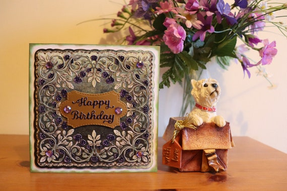 Handmade Birthday Card  with Bramble Berries on a layered background