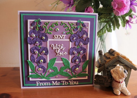 Handmade Greeting Card, Sent With Love from Me to You, Purple and Green, Sweetpeas and  Sparkle, Any Occasion