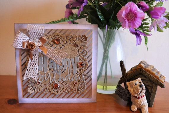 Unique Handmade Birthday Card, gold and silver, multi-layered, 3D. fancy bow, personalise